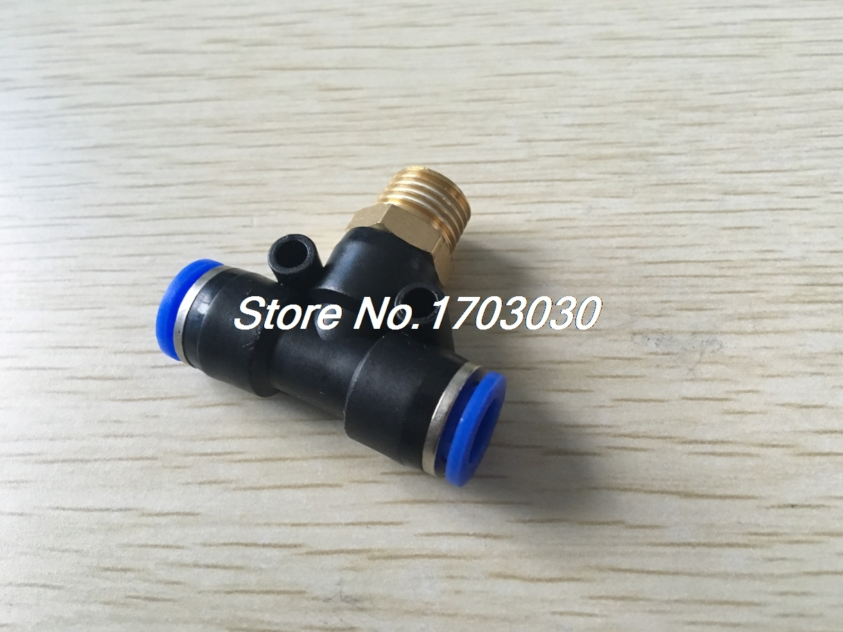 23.99$  Buy here - 50pcs 8mm-1/4 Threaded Male Tee Pneumatic Connector PB8-02  #magazine
