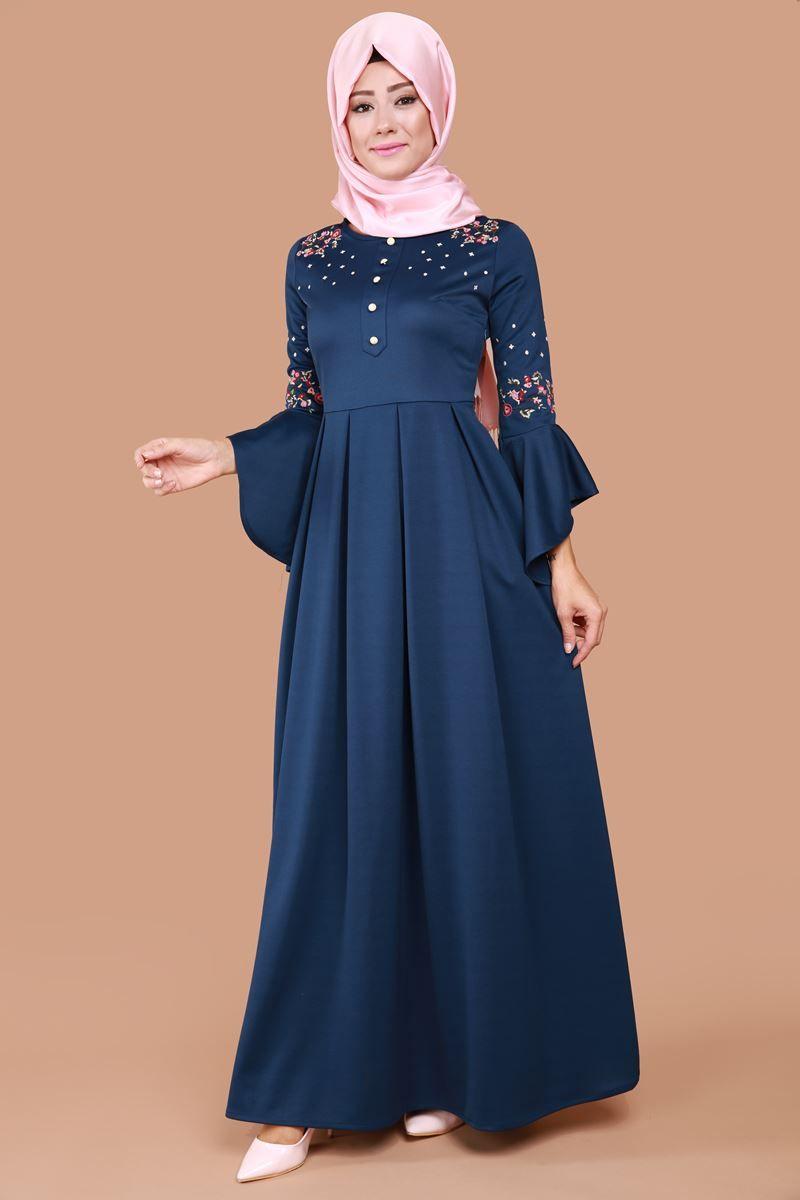 En Sik Elbiseler Volan Kol Nakisli Elbise Indigo Urun Kodu Mdb3839 89 90 Tl Elbise Islami Giyim Elbiseler