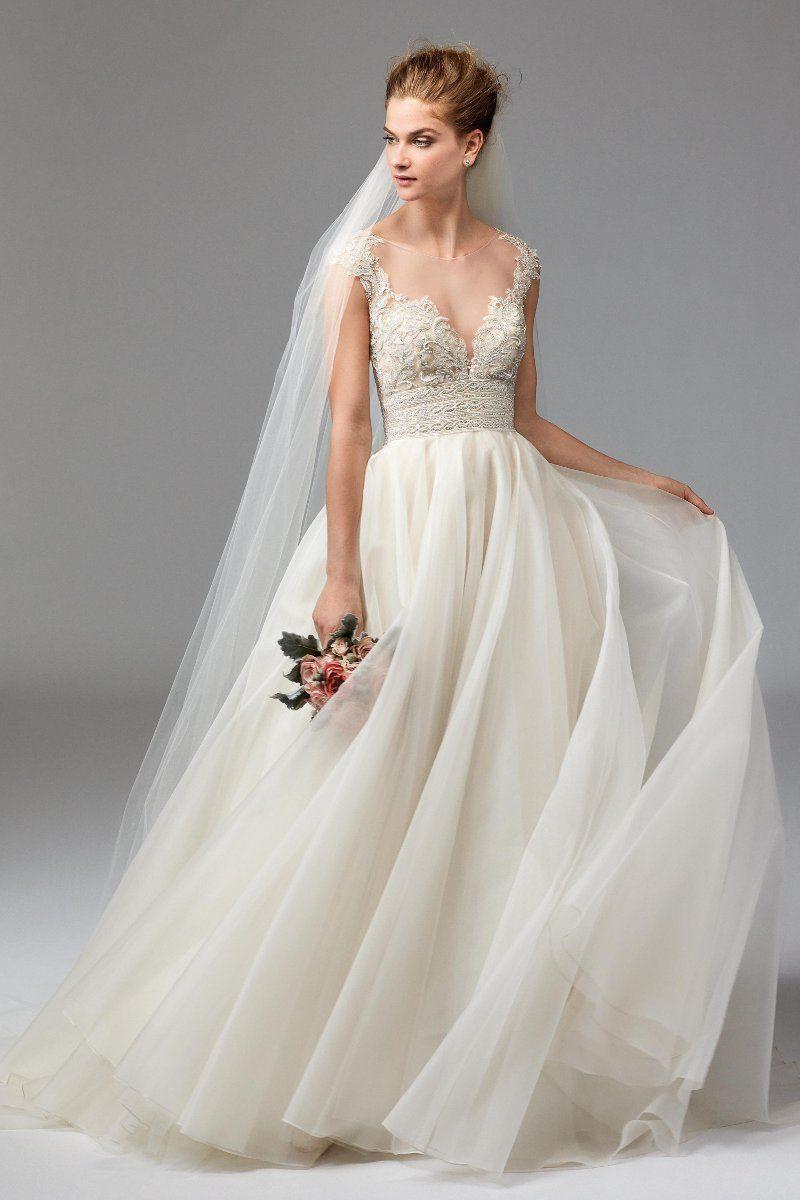 Spaghetti Strap Bead Embellished Bodice Tulle Skirt Wedding Dress ...