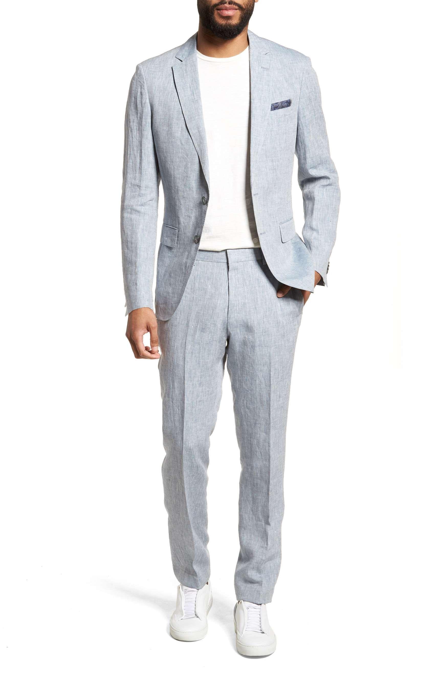 Best mens suits 2018 boss trim fit blue linen suit for