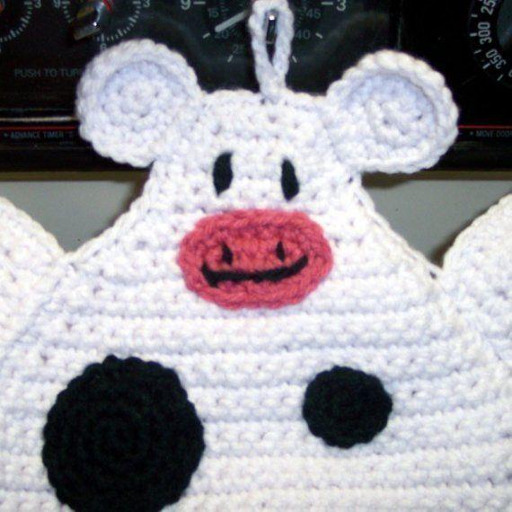 Easter Pot Holders Crochet: Holstein Cow Pot Holder Crocheted Black And White Cow Pot