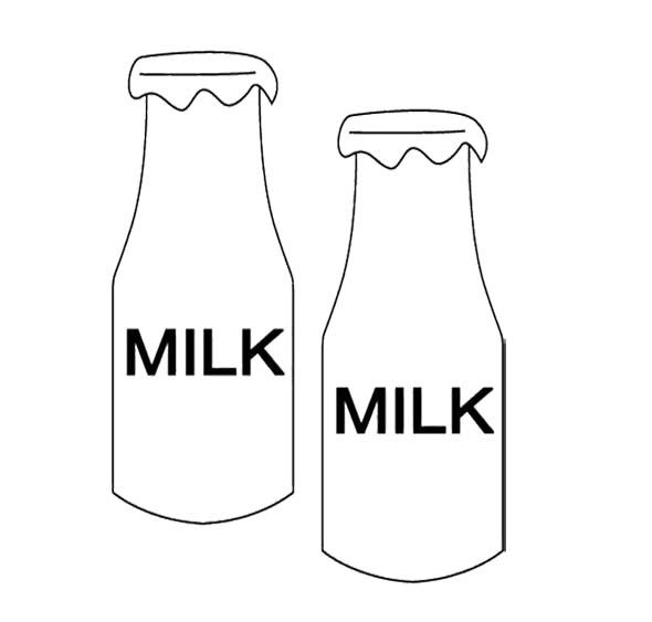 Two Bottle Milk Coloring Page For Kids