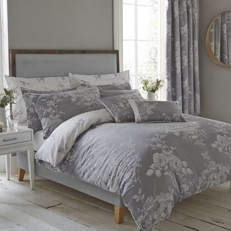 Detailed With A Jacquard Design Our Charcoal Grey And White Reversible Duvet Cover Features