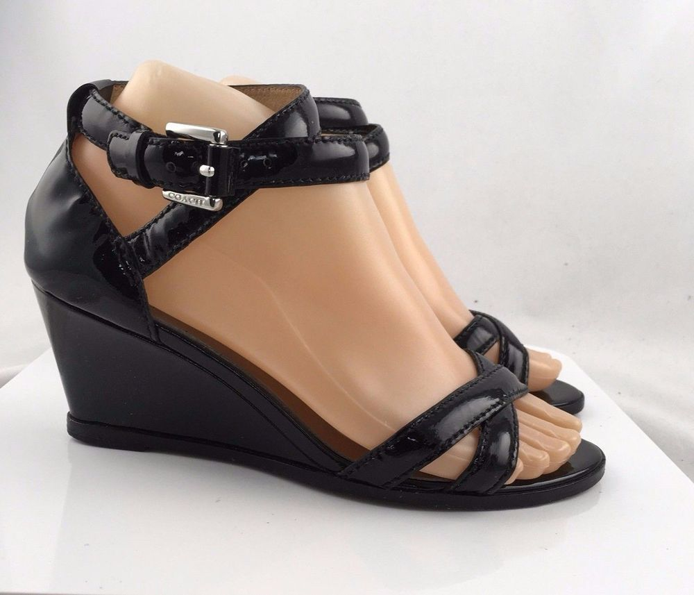 eef5bd5bc845 Coach Womens Mary Jane Wedge Sandals Open Toe Black Patent leather size  6.5B  Coach  PlatformsWedges  Casual