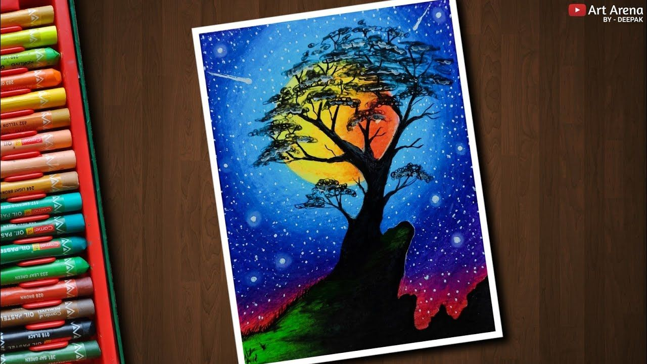 Colourful Night Sky Drawing With Oil Pastels Step By Step