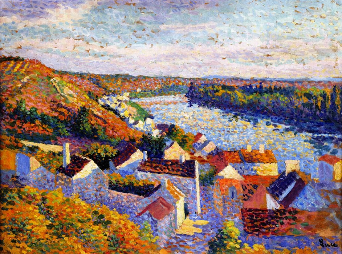 Maximilien Luce, Bend in the River, 1890, Oil on cardboard ...