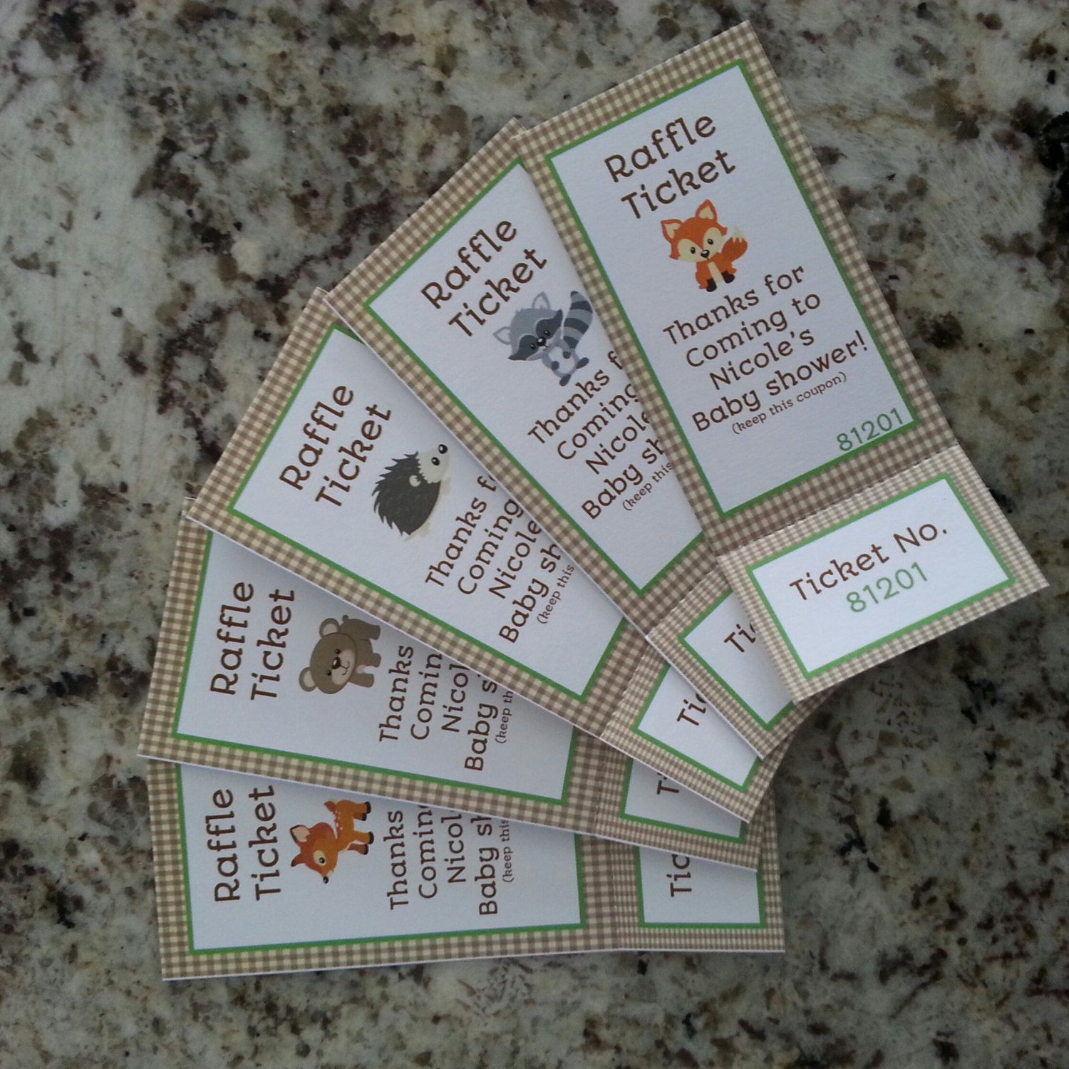 Perforated Woodland Animals Baby Shower Raffle Tickets Mms002