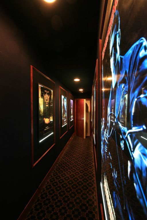 Yes Hallway Leading To Home Theater Room Lined With Your Favorite Movies Very Awesome At Home Movie Theater Home Theater Rooms Home Theater Setup