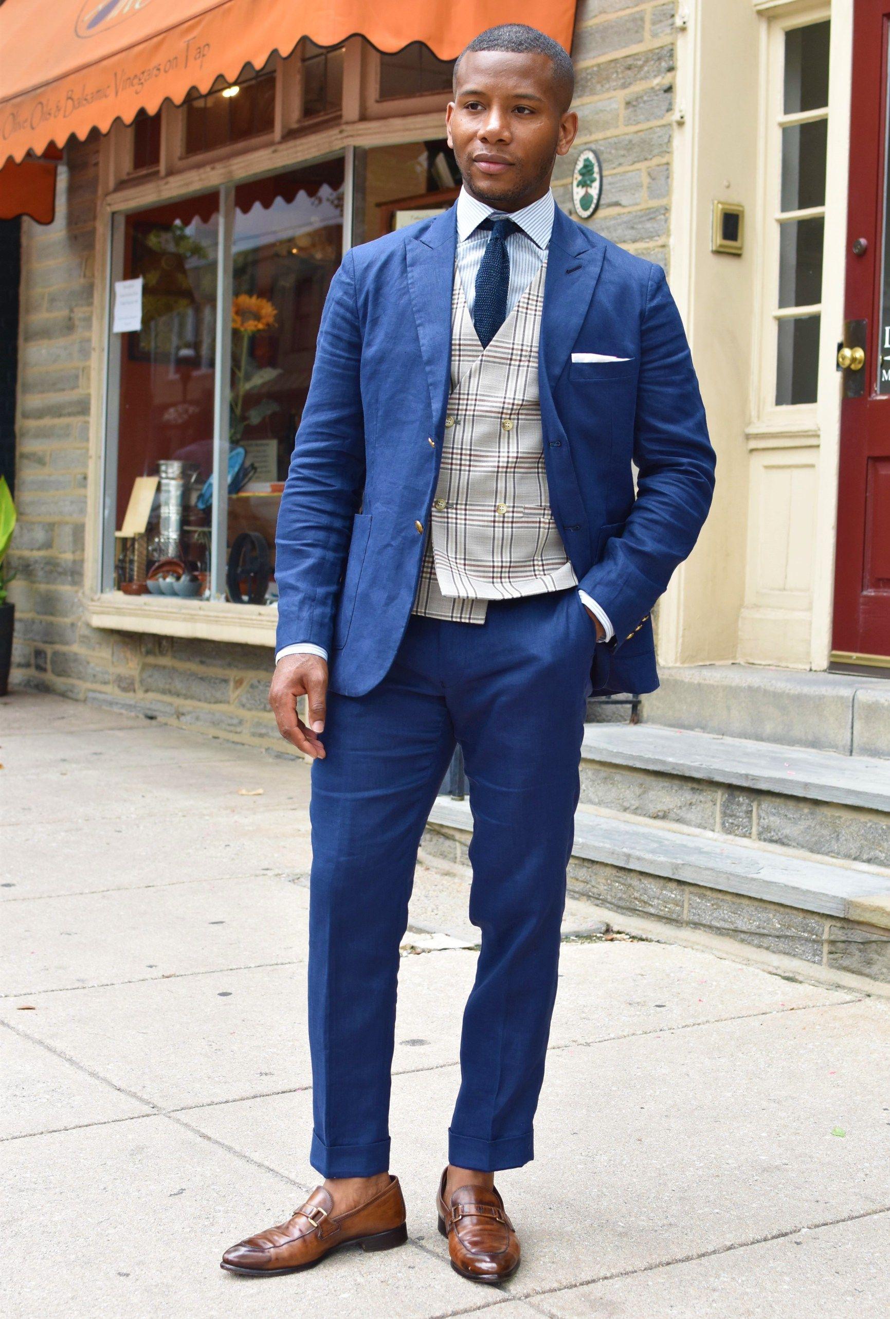 Tailor 4 Less Unlined Blue Linen Suit On Men S Style Pro
