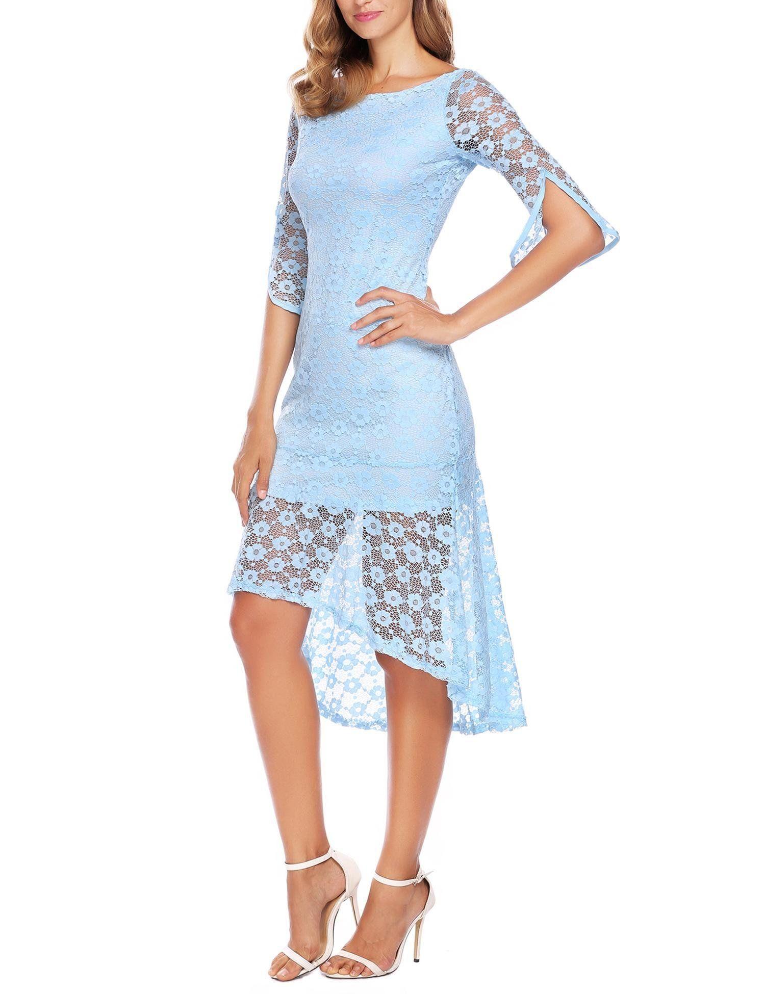 ANGVNS Womens Overlay Lace Mermaid Wedding Dresses Split Sleeves Dress Light Blue XXL Read