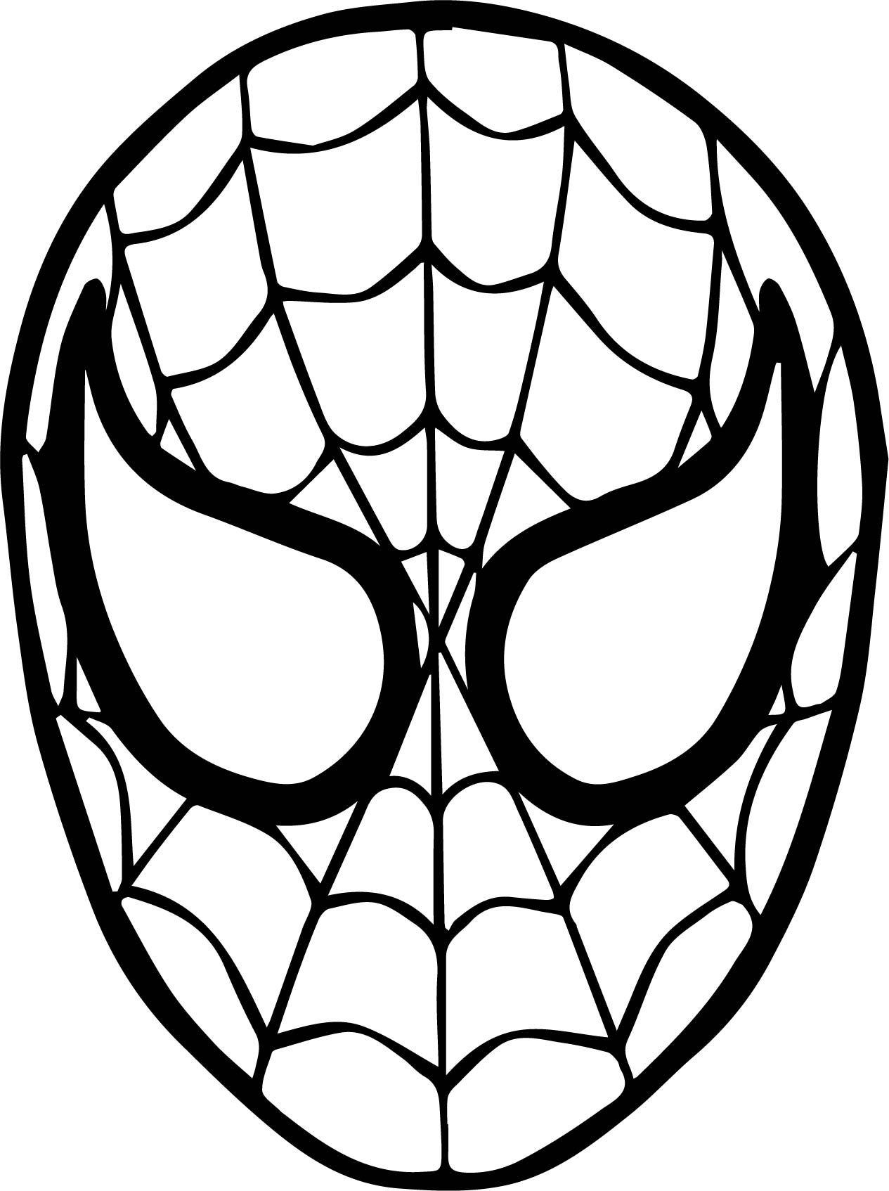 Cool Spider Man Mask Face Coloring Page Spiderman Coloring