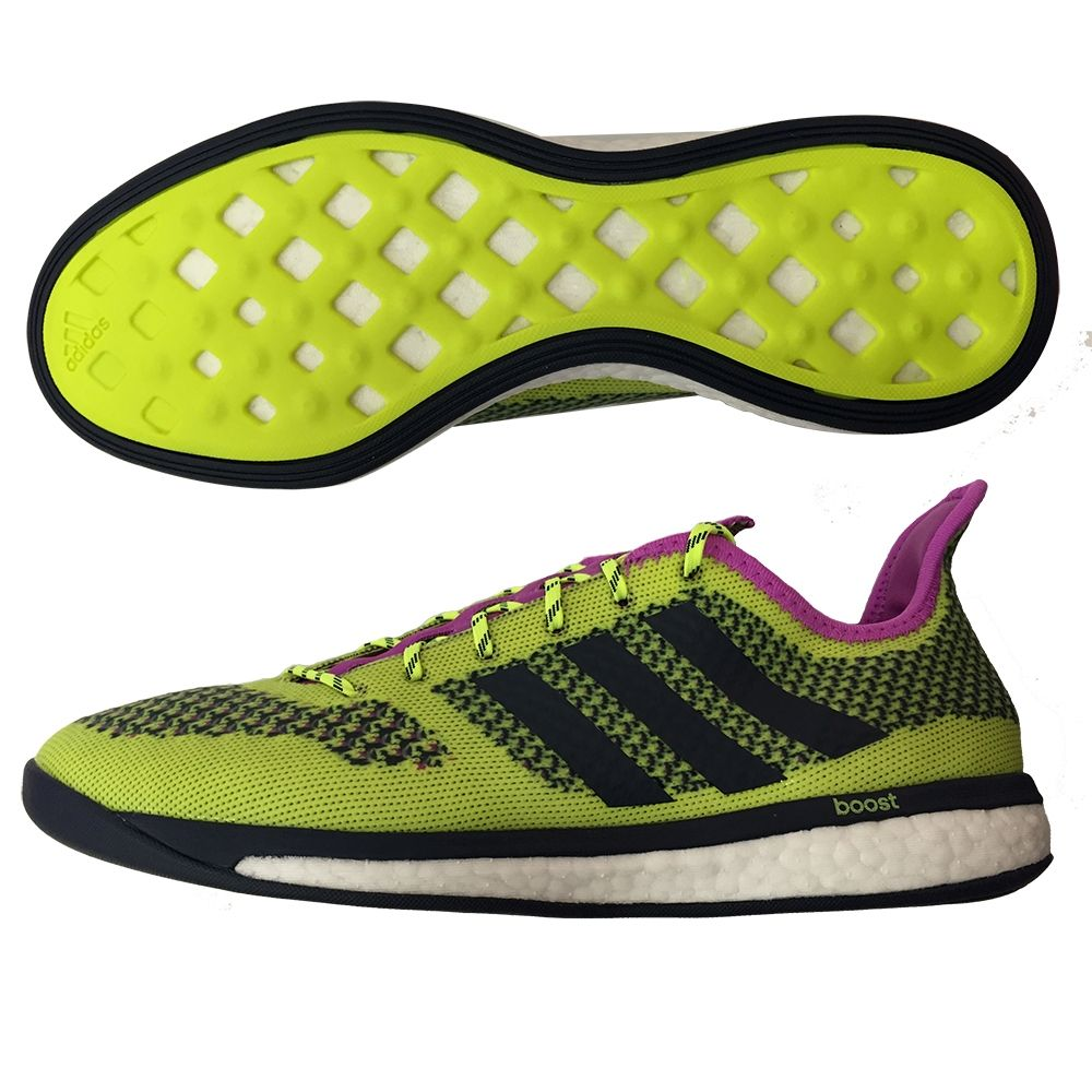 SALE $119.95 - Adidas Primeknit Boost Indoor Soccer Shoes (Solar Yellow/White/Collegiate  Navy) | B34963 | Adidas Indoor Soccer Shoes | SOCCERCORNER.com