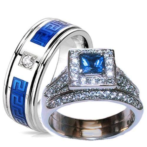 his hers halo sapphire blue clear cz wedding ring set stainless steel wedding - Blue Wedding Ring Set