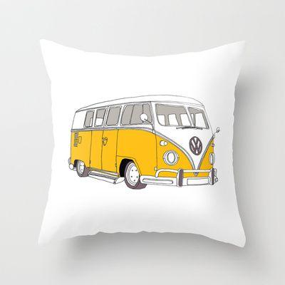 d35165d827 Yellow Volkswagen Camper Van (Landscape) (Kombi    VW) Throw Pillow ...