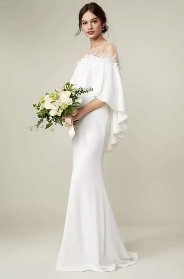 Tadashi Shoji | Elfenbein Braut von der Schulter Popover Kleid traditionelle W   – Products