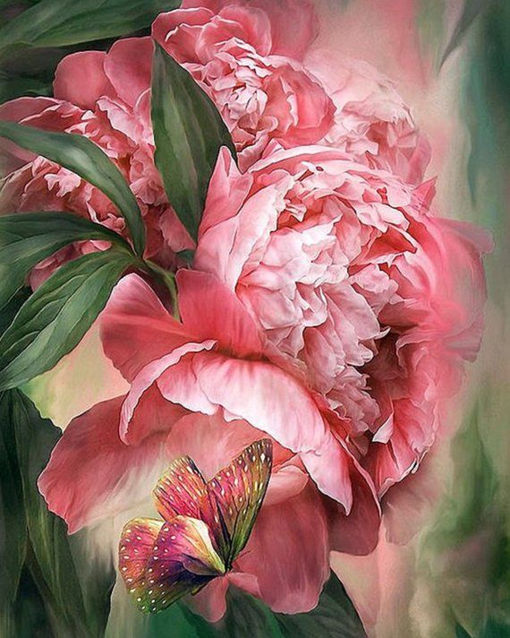 Diamond Painting Kit Butterfly in Peonies, Mosaic
