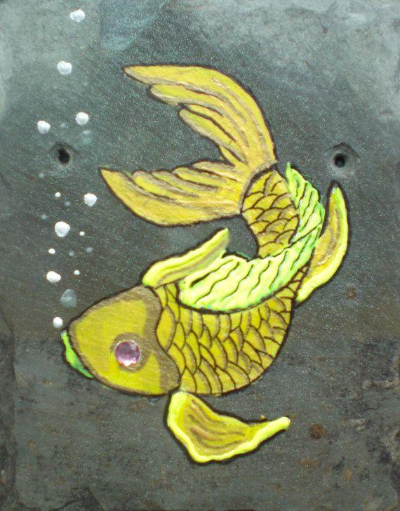 Koi decor | decorative slate art | hand painted slate art | hand ...