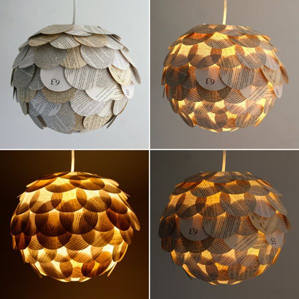 Pendant Lamps Made From Recycled Books Papperslampa Hangande