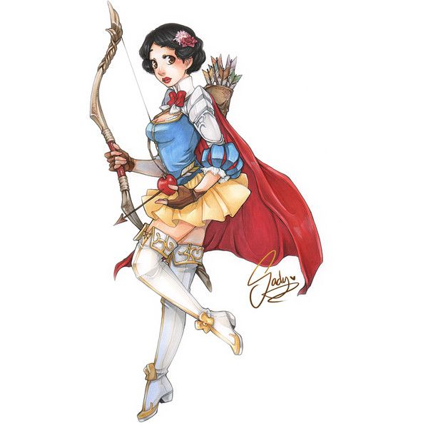 Disney Princesses Reimagined as Medieval Warriors GeekTyrant ❤ liked on Polyvore featuring disney, snow white, dessin, pictures and princess
