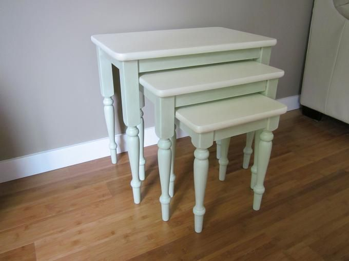 Set Of 3 Solid Cherry Wood Nesting Tables. Painted A Soft Green With White  Table