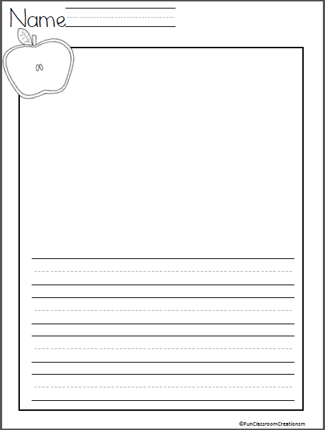Apple Writing Page Madebyteachers Writing Center Writing Lines Kindergarten Writing