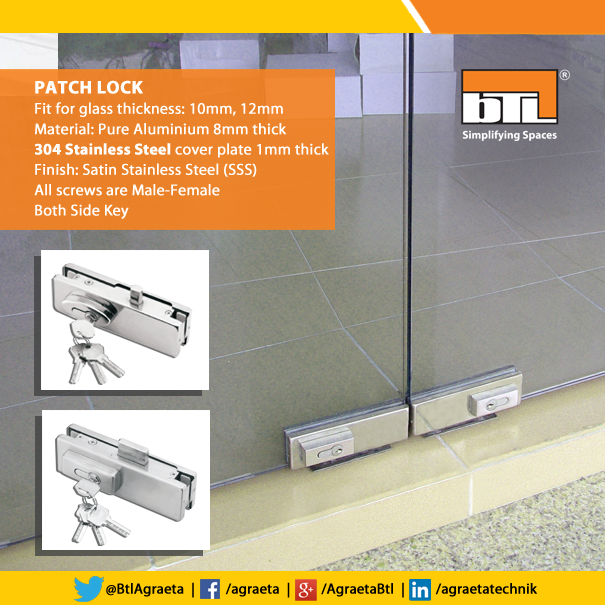 Btl S High Quality Patch Locks Are Ideal For Your Glassdoor And Also A Preferred Choice Because Of Its Functionality Btl Glass Door Fittings Pure Products