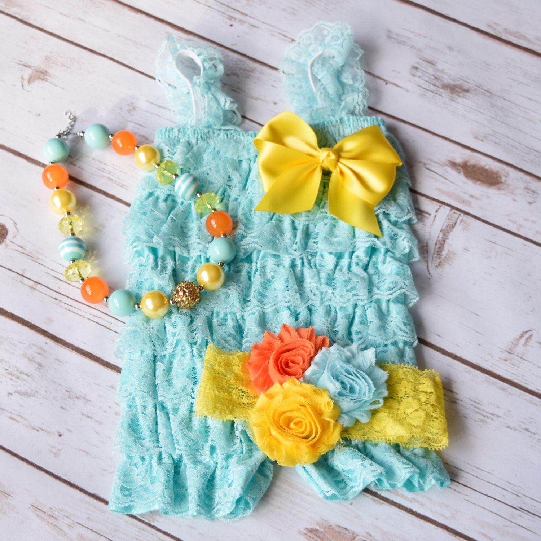 Aqua romper romper set cake smash outfit girls baby