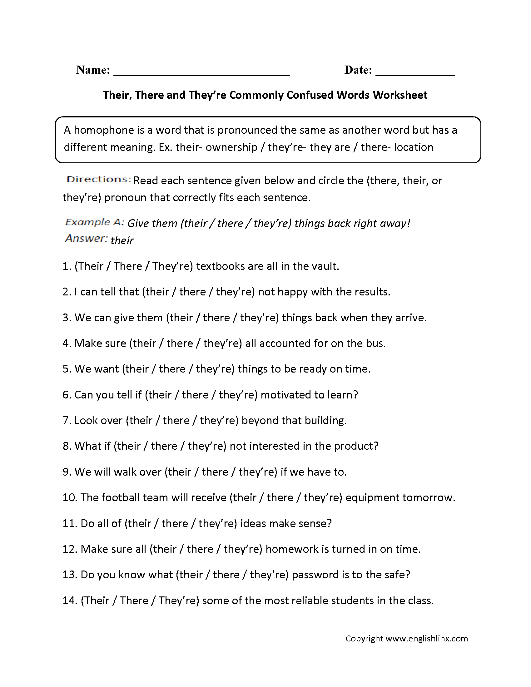 worksheet Homophones Worksheet 6th Grade their there theyre commonly confused words worksheets this fun homophones worksheet directs the student to write which version of or best completes each sentence