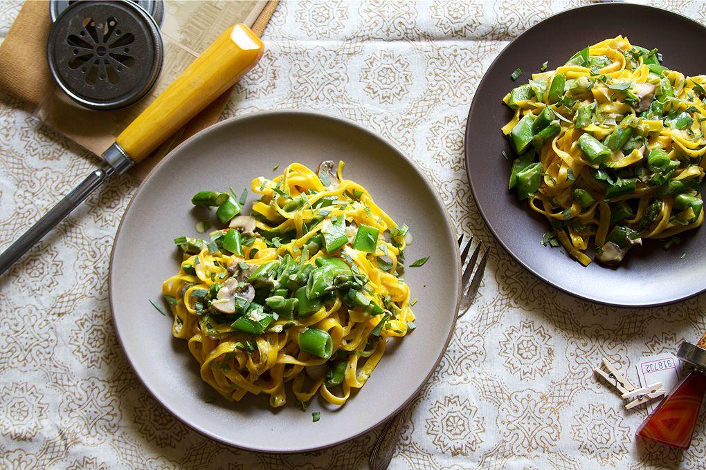 Spring Green Pasta with Saffron Cream Sauce Recipe