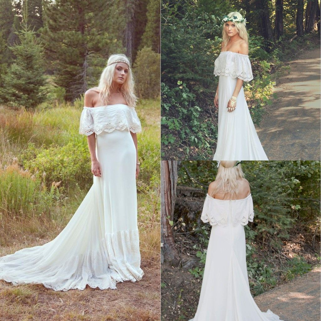 Boho wedding dress wedding dress bohooff shoulder wedding dress