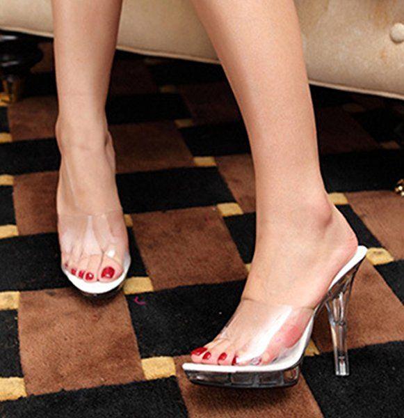 Mule sabot femme cristal étanche talon haut aiguille sandale sexy cuir  soirée party élégant transparent 44: Amazon.fr: Chaussures et Sacs