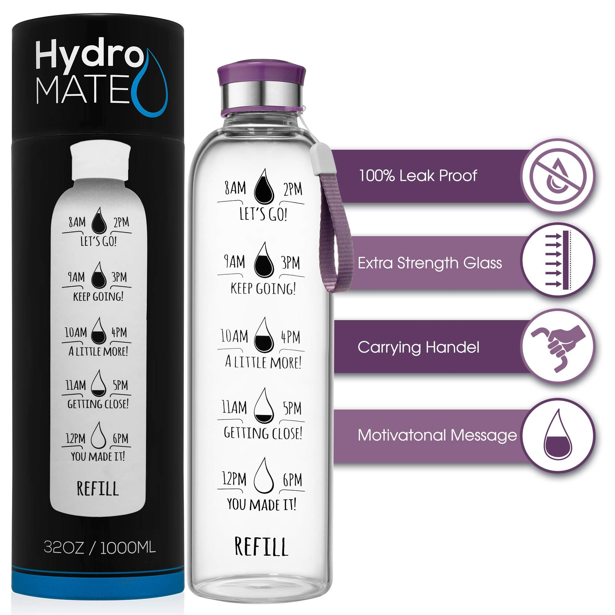 Hydromate 32 Oz Motivational Glass Water Bottle With Time Marker Leak Proof Bpa Free Track Inta In 2020 Water Bottle With Times Water Reminder Glass Water Bottle