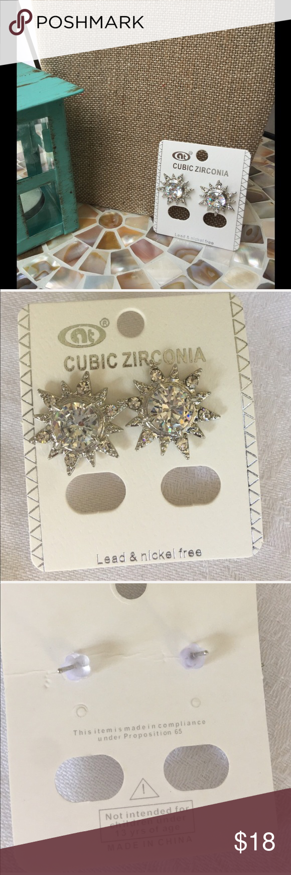 🆕 Cubic Zirconia Sunburst earrings in silver tone Cubic Zirconia Sunburst earrings in silver tone - these gems are a must have touch of sparkle. Also have a listing with them in gold  tone!                                                ✅I ship same or next day ✅Bundle for discount Jewelry Earrings