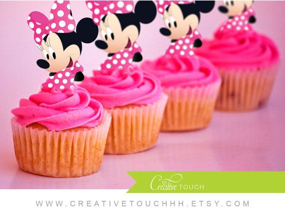 Minnie Mouse Cupcake Toppers, Minne Cupcake Toppers, Minnie Mouse Birthday, Minnie Birthday, Minnie Party, Minnie Mouse, Cupcake, Decoration
