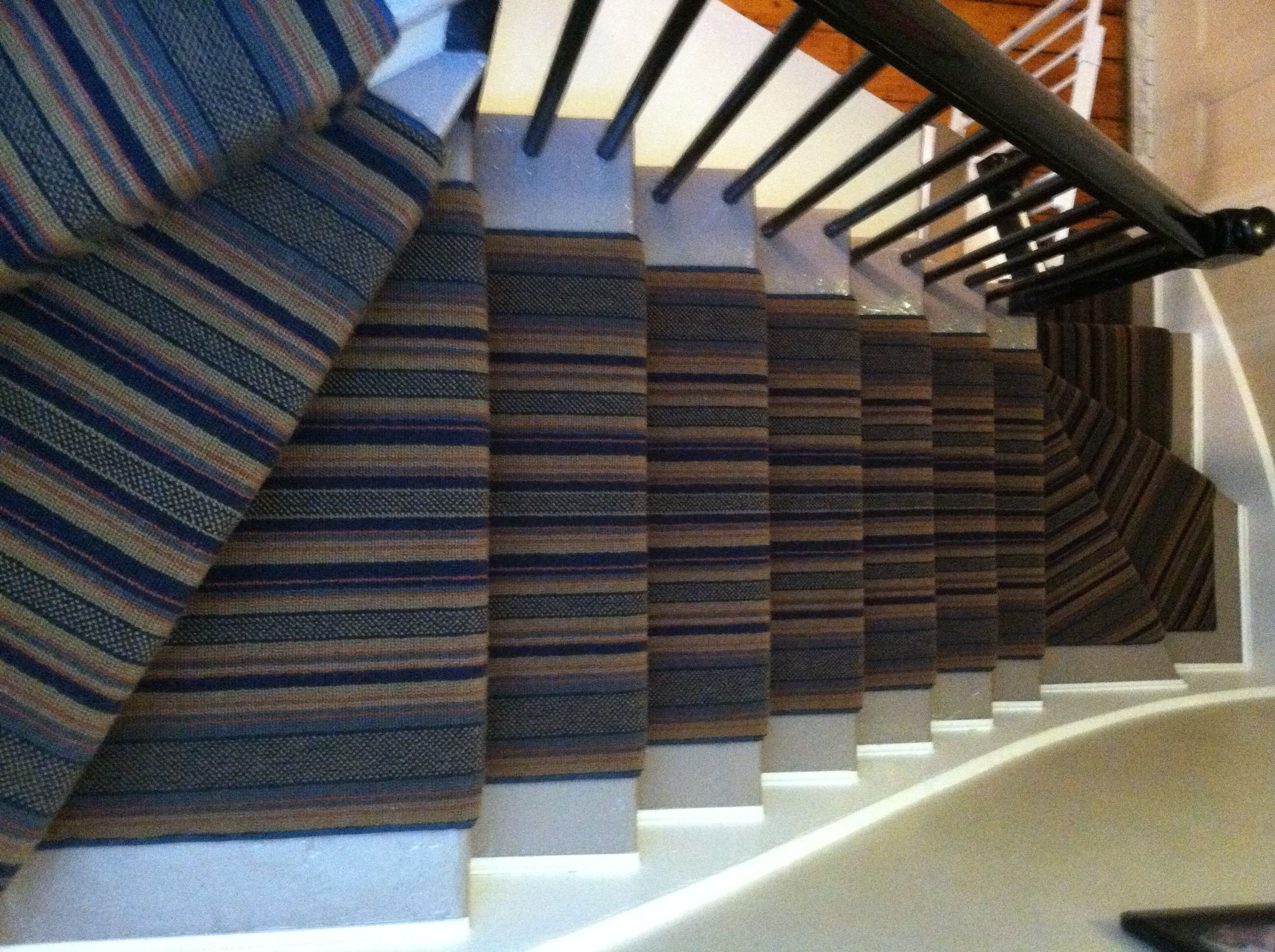 This Wool Carpet Remnant Was Fabricated And Installed As Stair Runner.  Www.carpetworkroom.