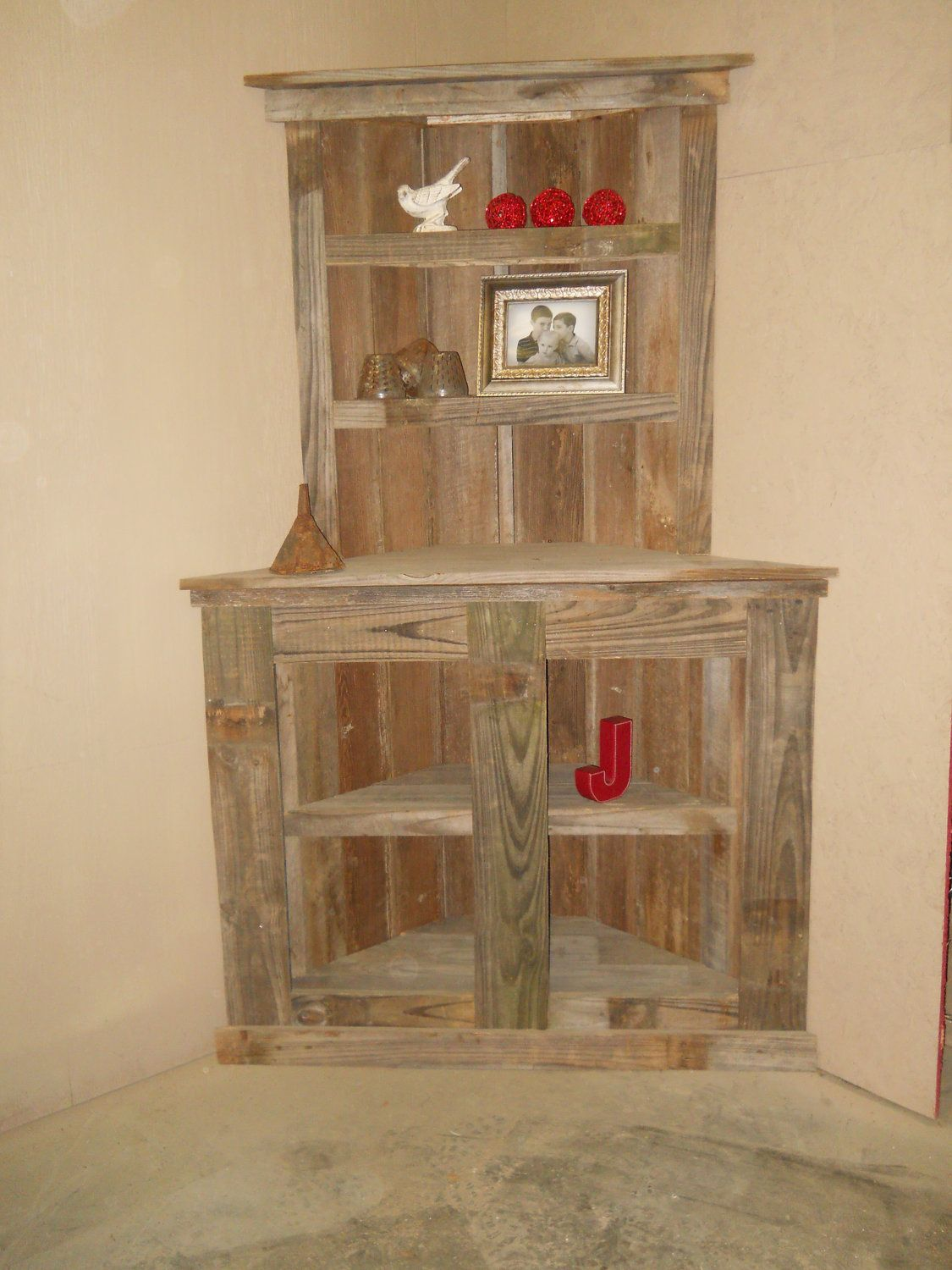 Reclaimed Bookcase Rustic Shelf Barnwood Corner 39500 Via Etsy