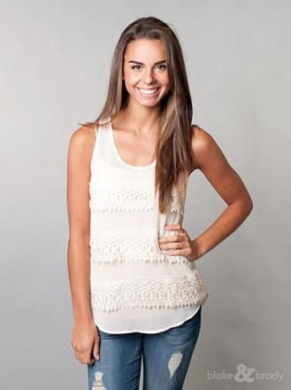 This lace trimmed top will leave everyone jealous!