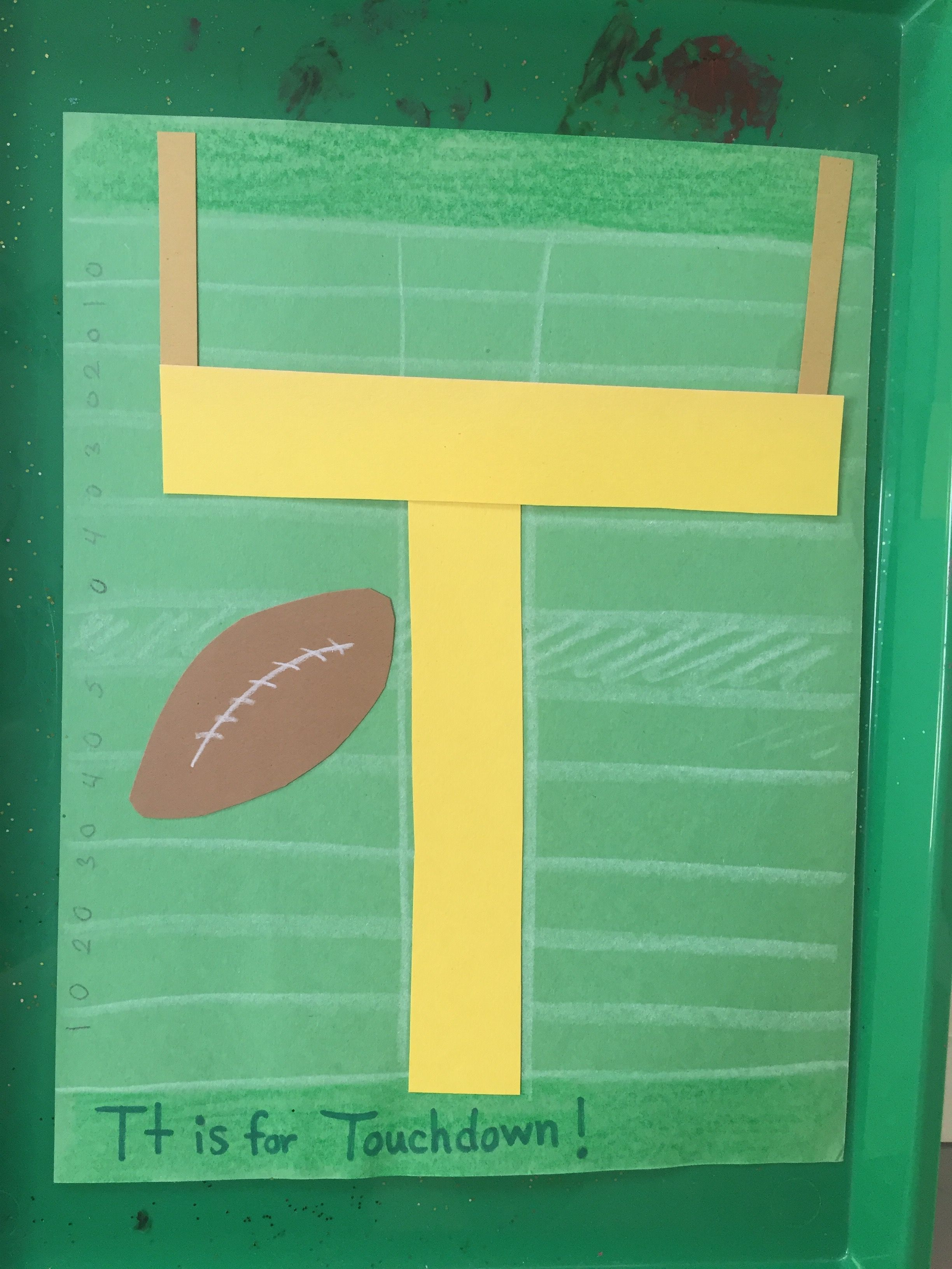 T Is For Touchdown Craft Preschool Football Theme Idea
