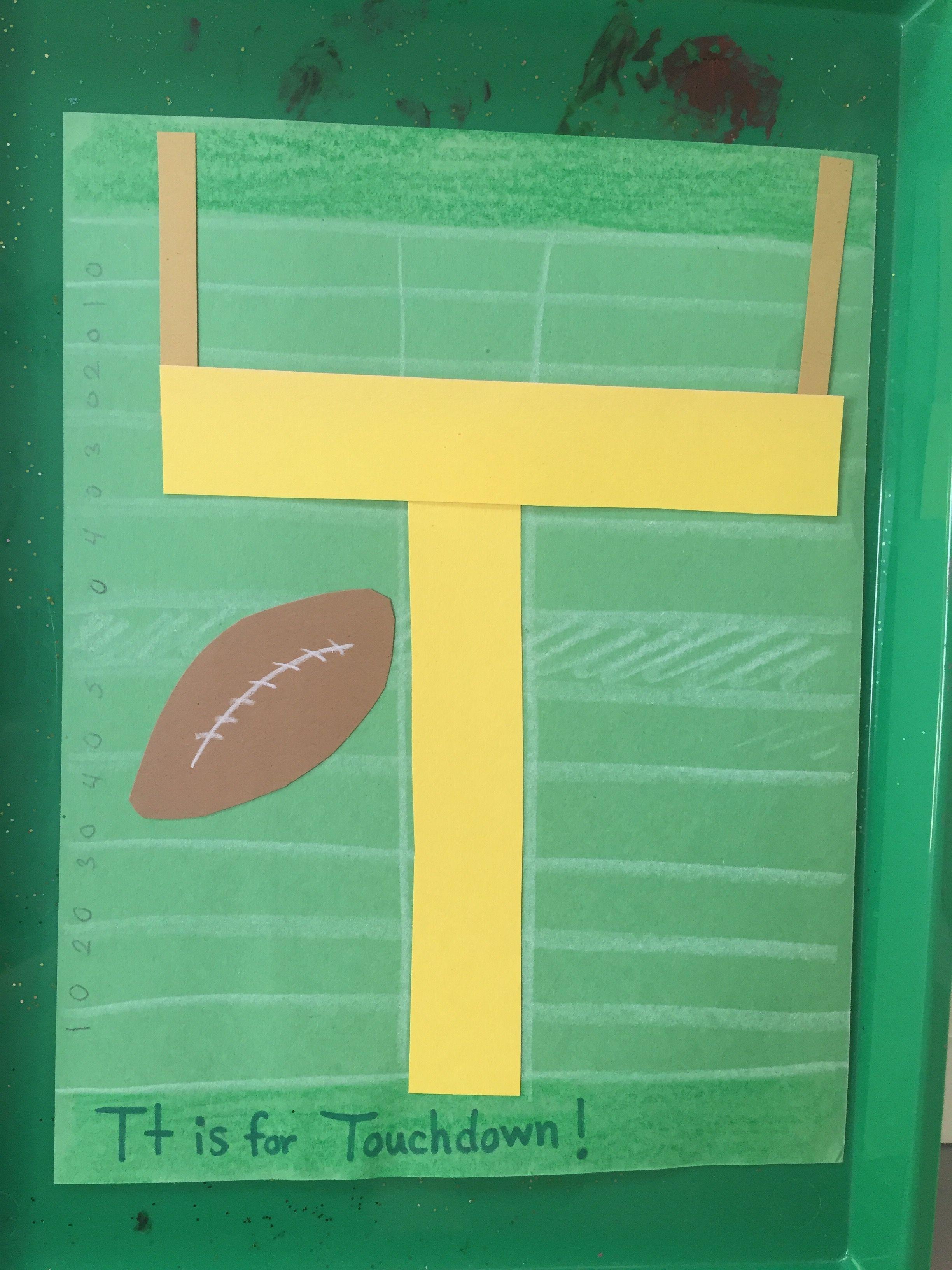 T Is For Touchdown Craft Preschool Football Theme Idea