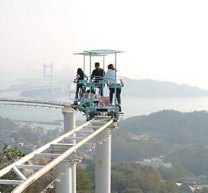 Pedal Powered Roller Coaster Located In Japans Washuzan Highland - Pedal powered skycycle rollercoaster japan amazing