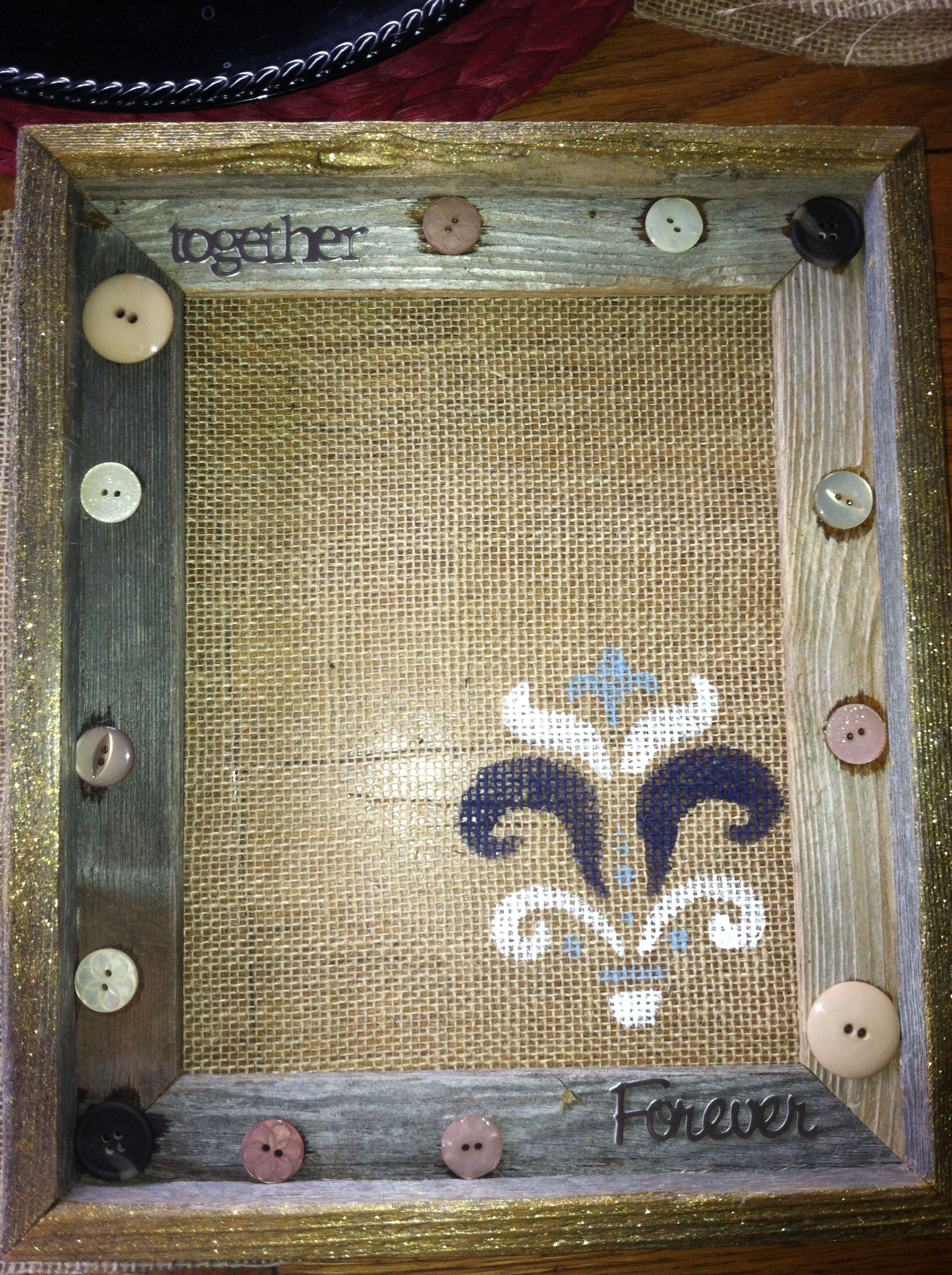 Diy craft picture frame brushed in gold glitter on the edges diy craft picture frame brushed in gold glitter on the edges added buttons jeuxipadfo Image collections