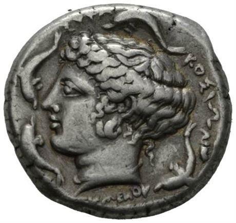 SICILIA, Syrakus, ca.415-405 f.Kr., tetradrachme (17,17 g). Signert av Euainetos og Eumenos.