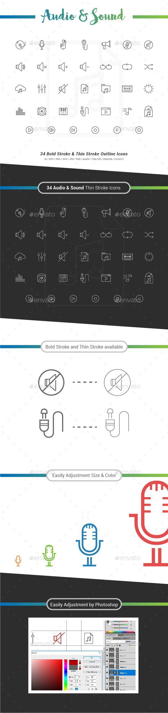 34 Audio & Sound Outline Stroke Icons Technology icon