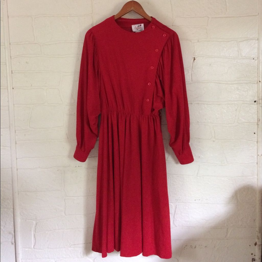 Vintage long sleeve red dress unique s size products