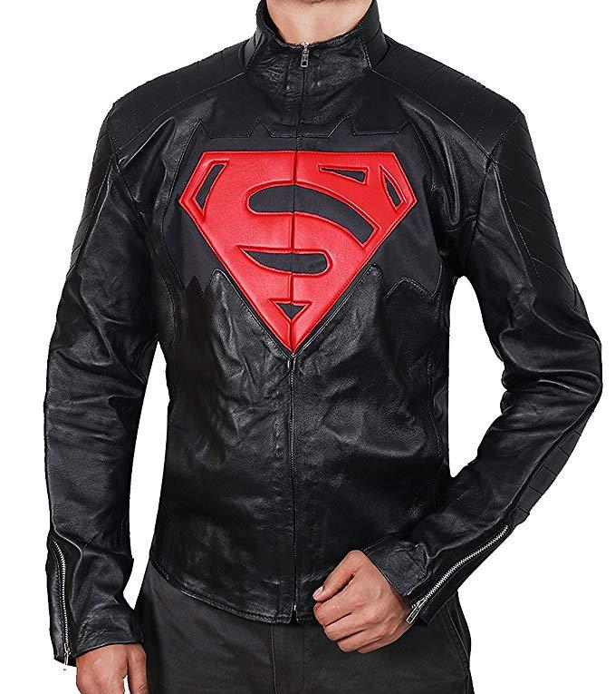 Men's S Logo Faux Leather Jacket Black Leather Jacket