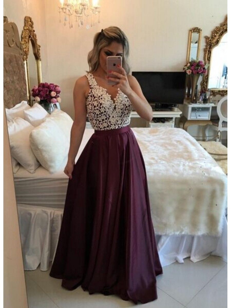52143a8751 A-Line Straps Sleeveless See Through Back Lace Long Prom Evening Formal  Dresses 99602131