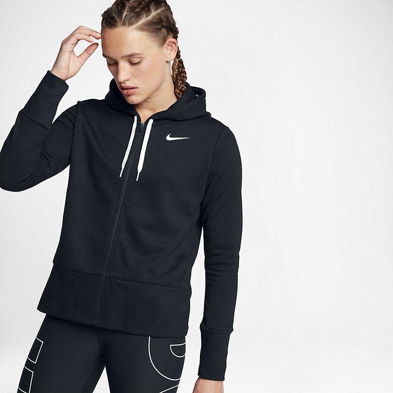 Nike Sports Fitness Womens Hoodie Black Size L Zip Up