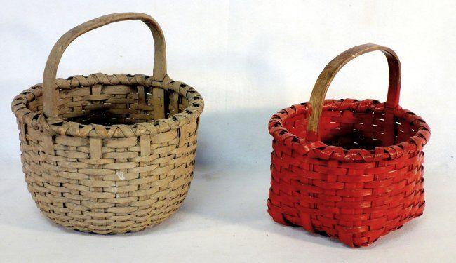 Two early painted splint baskets