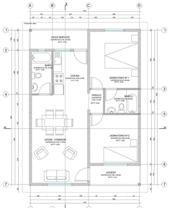 Preview Plano De Casa Completo Con Medidas 55 M2 1 Piso 2