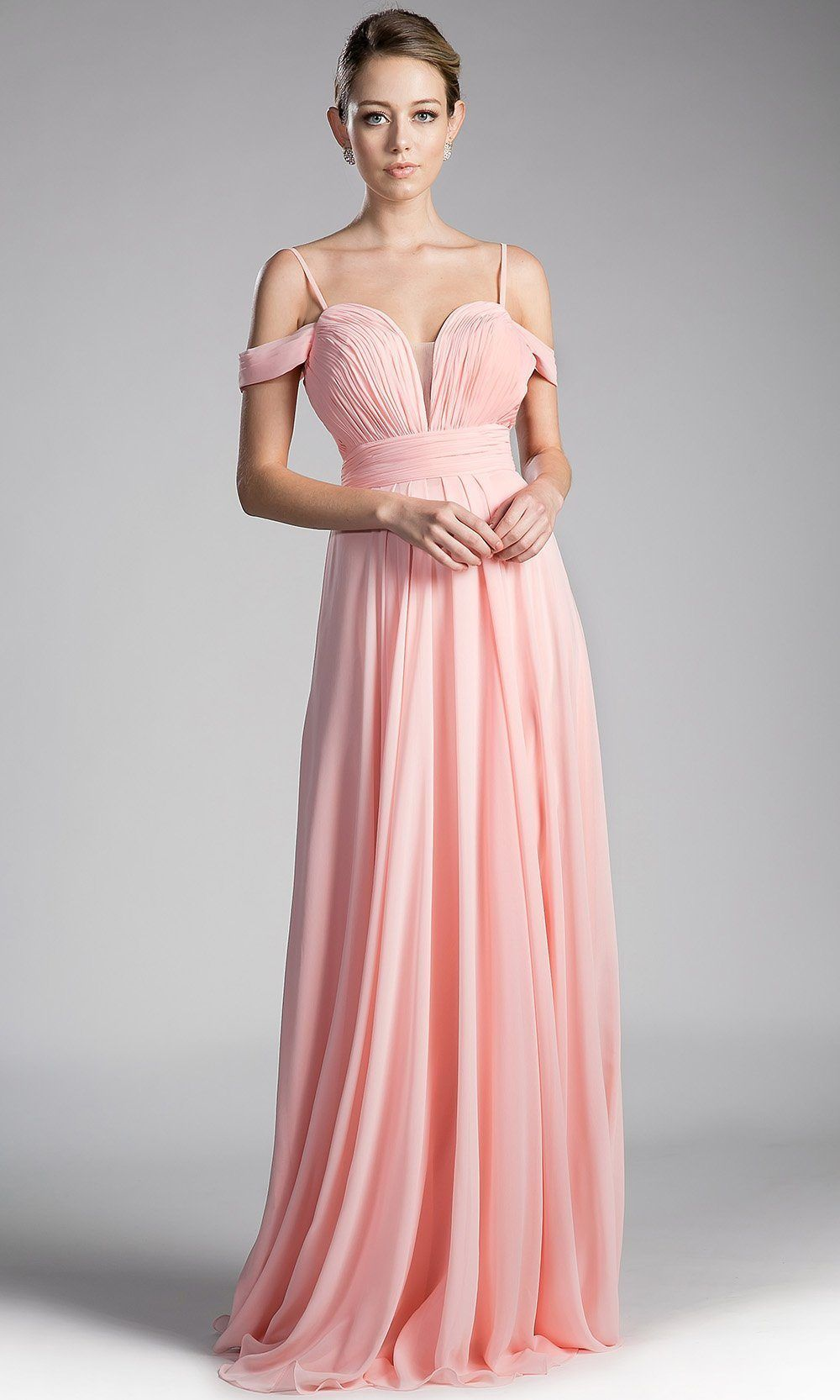 90814f01eb Long flowy blush pink off shoulder dress with v neck back. Perfect long gown  for light pink bridesmaids